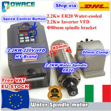 【IT+EU】2.2KW ER20 220V Water Cooled CNC Spindle Motor+HY VFD Inverter+80mm Clamp
