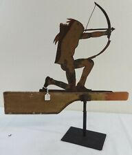 Antique Painted Sheet Iron & Wood Weathervane Kneeling Warrior w/Drawn Bow
