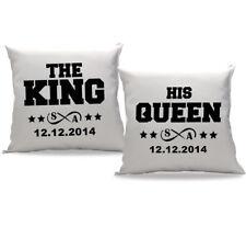 King Queen Partner Kissen mit Wunschdatum und initialen im Set als Geschenkidee