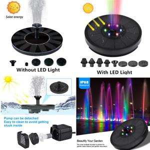 LED Light Bird Bath Solar Powered Water Pump Floating Outdoor Pond Garden Pool
