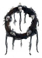 Halloweentürkranz - Skulls - Halloweendekoration - Totenkopfkranz