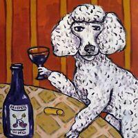 poodle having a drink wine artwork animal dog art tile coaster new