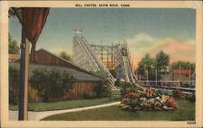 Savin Rock CT Mill Chutes Roller Coaster Linen Postcard