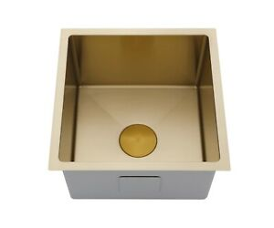 Brushed Brass Gold stainless steel kitchen sink R10 trough pantry 280 mm deep