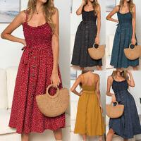 Womens Sundress Polka Dot Ruffles Tank Buttons Swing Ladies Midi Dress