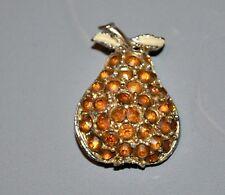 Fruit Silver Tone Metal Brooch Vintage Yellow Orange Enamel Pear