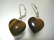 Top quality natural Tiger's Eye heart shape sterling silver leverback earrings