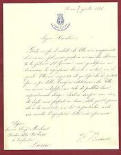 Lettera del Capo di Gabinetto del Ministro del'Interno Pietro Bertarelli 1896