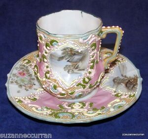 Antique Nippon Japan Heavy Moriage Hand Painted Scenic Pink Cup & Saucer