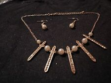 Fashion Crystal & Cream Pearl Necklace & Earring Set
