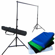 Kit 4x Fondo 280x400cm Blanco Negro Azul Verde Algodón + Soporte de Fondos Foto