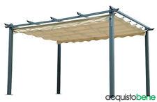 Pergola gazebo in alluminio 3x4 Mt con telo di copertura scorrevole retrattilea