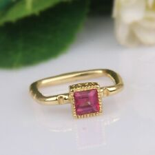 Beautiful Pink Topaz Dainty Stackable Ring 18k Gold Plated Square Shape Ring
