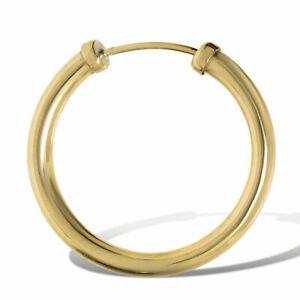9ct Gold 18mm Capped Sleeper Hoop Mens Earring - Single Earring
