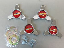 Vintage 1957 Chevy Belair Accessory Hubcaps Spinners Center Tri Bar Wheel Covers
