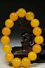 12mm Natural Yellow Jade Round Beads Stretchy Bangle Bracelet