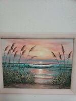 "Vintage Mid Century Robertson 18"" Oil on Canvas Beach Sunset Landscape Painting"
