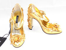 DOLCE & GABBANA Womens Pumps Gold Flower Spikes Size 36 / 5.5 D&G NWT New Shoes