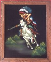 NATIVE AMERICAN INDIAN CHIEF OIL PAINTING ON VELVET WOOD CARVED FRAME VINTAGE