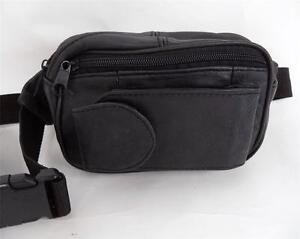 VINTAGE BLACK LEATHER SATCHEL BELT BAG FESTIVAL BUMBAG