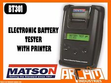 MATSON BT301 ELECTRONIC BATTERY TESTER WITH PRINTER 6V 12V 40-2000 CCA CAPACITY