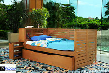 InRoom Designs Honey Finish Solid Wood Day Bed (Daybed) With Bookshelf