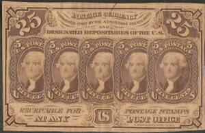 1862 US Fractional 25 cent Postage Currency Note~Non-Perf, Mono, Light Folds VG