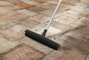 SupaHome Rubber Bristled Broom with Extending Handle Sweeper Pet Hair Floor
