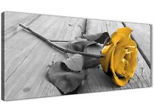 Mustard Yellow Grey Rose Flower - Living Room Canvas Art Print - 1454 - 120cm