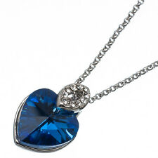6.78 Ct Heart Cut Style Shape Blue Sapphire CZ 18K White Gold Plated Pendant