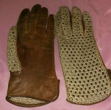 Vintage Leather Driving Gloves Beige & Tan Crocheted