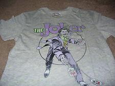 Joker Mens Batman DC Comics Cards Super Hero Gray Vintage T-Shirt Size Small S