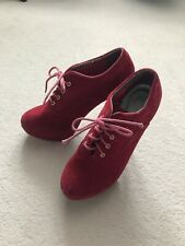Red Velvet Gothic Stiletto Platform High Heels Size 7