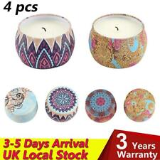 Vintage Scented Candles Natural Soy Wax Portable Travel Tin Candle Set Gift of 4