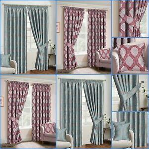 Fully Lined Pencil Pleat Jacquard Ready-Made OCEAN Curtain Pair Matching Tieback