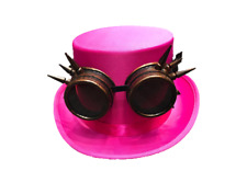 Vintage Steampunk Cyber Retro Bronze Spike Goggles & Pink Top Hat Hot Punk