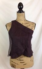 NWT Giorgio Armani $775 Burgundy one shoulder blouse, draped lace size 38 (US 2)