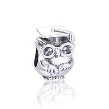 Graduation Owl Charm, SILVER Jewellery, Animal Charms for Bracelet, Bangle Bead