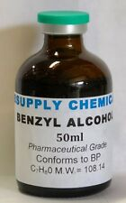 BENZYL ALCOHOL 50ml 99.8% Pharmaceutical Grade - Conforms to BP Crystal clear