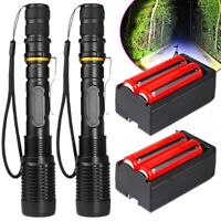 2x Tactical 990000Lumens T6 LED Zoomable Flashlight Torch+18650 Battery &Charger