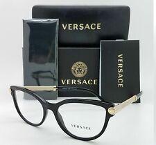 Versace RX Frame Cat Eyeglasses VE 3270 Q 5299 Black Beige Gold Optical New 54mm