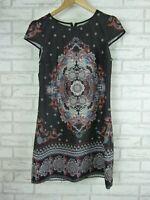 DOTTI Dress Sz 10 Black, Orange, Red paisley type print