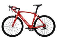 54cm AERO Carbon Bike Frame Road Bicycle Wheels Clincher 700C V brake Red glossy
