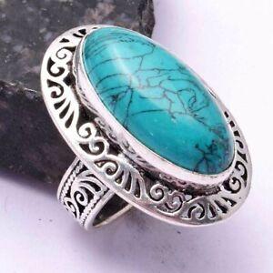 Turquoise Ethnic Handmade Ring Jewelry US Size-8.5 AR 42377