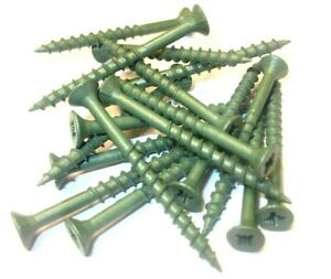 4mm x 60mm Decking Screws. Green. Exterior. Anti-Corrosion. Landscape