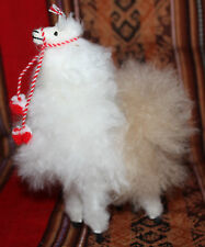 "New Llama 6"" White/Brown Stuffed Toy Real Soft Fluffy Alpaca fur Andes Peru"