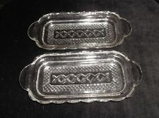 2 X VINTAGE SCALLOP RIM GLASS TAB HANDLE BUTTER / NIBBLES / PIN DISHES