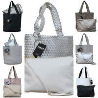 72f717ec02457 Damen Schultertasche Bag in Bag Wendetasche Beuteltasche Shopper Leder  Optik gef