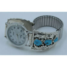 Running Bear .925 Sterling Silver Natural Blue Turquoise Pearl Wristwatch Watch