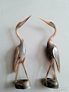 """Pair (2) Vintage Hand Carved Horn Egret Crane Birds 10""""  Excellent!"""